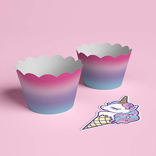 xo, Fetti Unicorn Cupcake Toppers + Wrappers | Unicorn Party Supplies + Unicorn Birthday Cupcake Decorations - Set of 24 by xo, Fetti (Image #2)