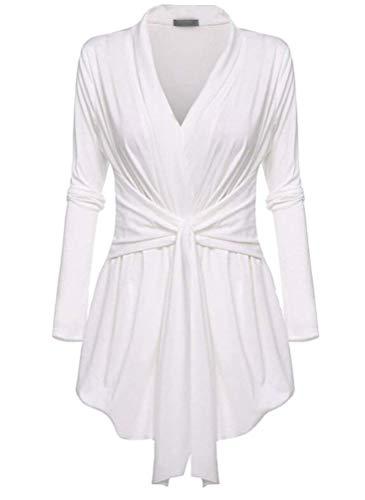 Outerwear Femme Vintage Festives Dsinvolte Coat Printemps Basic Automne Uni Manche Manteau Manches Longues V-Cou Irregular Nou Slim Fit Blouson Vetement Blanc