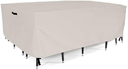 Tempera Patio Furniture Cover, Large Waterproof, Tear-Resistant, UV Resistant Outdoor Table and Chair, Sofa, Sectional Cover, Moon Silver, 128×82 inches