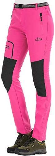 DAFENGEA Womens Snow Ski Outdoor Waterproof Windproof Softshell Fleece Slim Hiking Snowboard Pants
