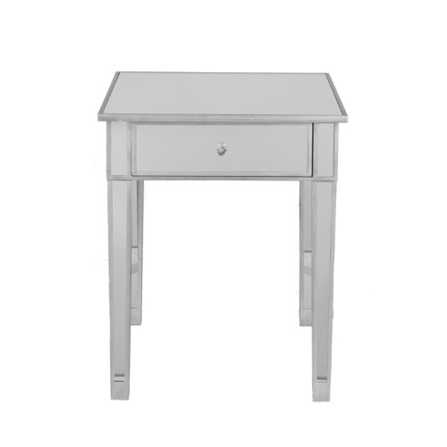 Southern Enterprises Mirage Mirrored Accent Table - Mirror Surface w/Faux Crystal Knob - Glam Style