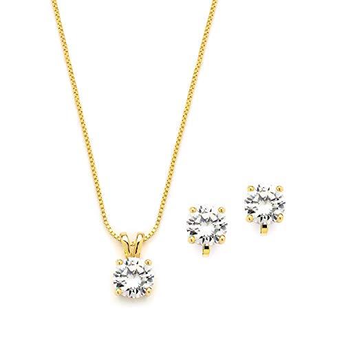 Gold Plated Pendant Set - Mariell 14K Gold Plated Cubic Zirconia Jewelry Set - 2cwt Round Pendant with Matching Clip-On Earrings