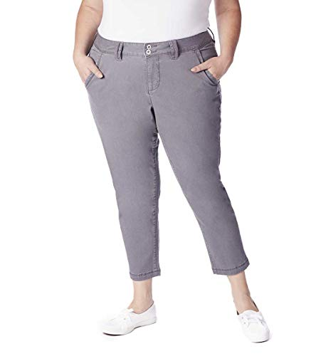 - Jag Jeans Women's Plus Size Flora Chino Crop, Black, 22W