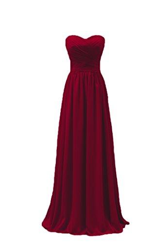 Bridal _ Mall Femme forme de cœur sans porteur Demoiselle d'Honneur StandART42Long Rides mousseline Party Soirée Vêtements -  Rouge - 44