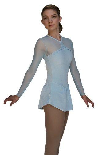 Chloe Noel DLV03 Velvet Mesh Dress with Crystals (Light Blue, Adult S)