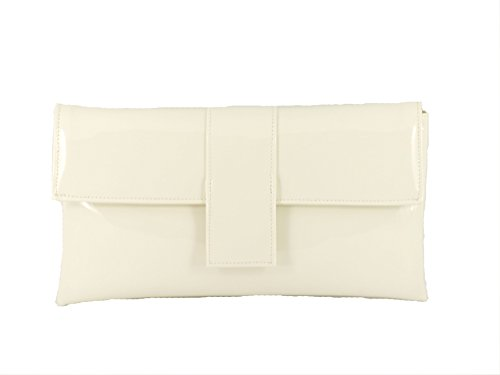 Patent Ivory Wedding Leather Womens Party Faux Loni Occasion Elegant Cream Shoulder Bag Clutch Prom fnxgT6q4wH