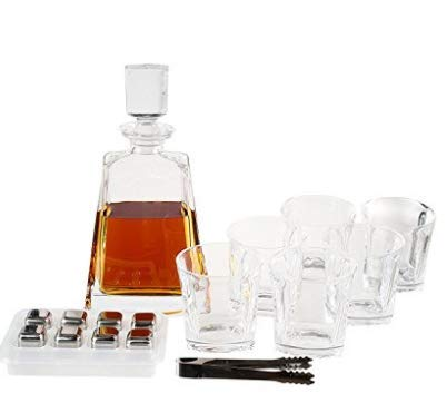 Whiskey Decanter Set by Opul (10 Piece Set) - Includes Crystal Whiskey Glasses Set, Whiskey Stones, Stainless Steel Tray and Tongs - Elegantly Designed to Last the Test of Time by OPUL (Image #2)