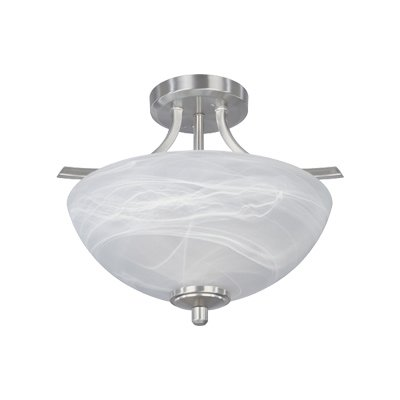 Designers Fountain 82911-SP Tackwood Semi-Flush, Satin - Flush Ceiling Platinum Lamp Semi