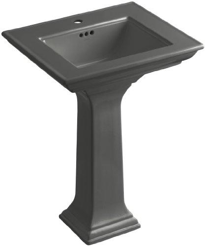 KOHLER K-2344-1-58 Memoirs Pedestal Bathroom Sink with Stately Design and Single-Hole Faucet Drilling, Thunder Grey