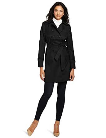 Larry Levine Women's Water Resistant Belted Rain Trench Coat, Black, Small