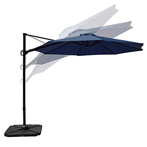 COBANA 10ft Cantilever Offset Patio Umbrella with Vertical Tilt and 360 Degree Rotation Function, Navy