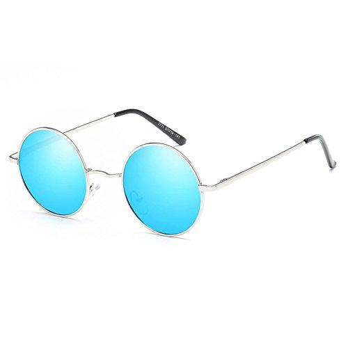 Unisex Moda Sun Polarizadas Retro Silverboxicebluefilm Metal Gafas Gafas 84w65vx