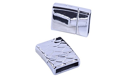 KONMAY 5 Sets 12.x2.0mm Rhodium Glue-in Style Wave Engraved Jewelry Magnetic Bracelet Clasps