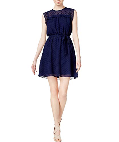 (Maison Jules Womens Special Occasion Swiss Dot Party Dress Navy M)