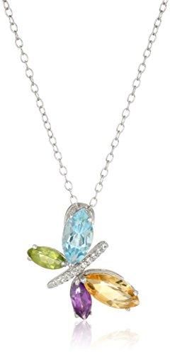 Sterling Silver Multi-Gemstone Butterfly Pendant Necklace (Multi Pendant Stone Butterfly)