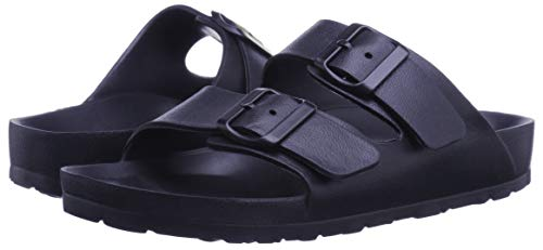 (Toson Men's Comfort Slides Double Buckle Adjustable EVA Flat Sandals Flip Flops Slippers (9 M US, Navy))