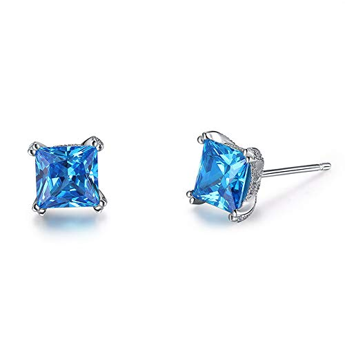 uPrimor Elegant Three Layers Rhdium Plated Square Shape Earrings Set With 1.2 Carat AAA Cubic Zirconia, Jewelry for Women, Girls, 6.5mm 6.5mm