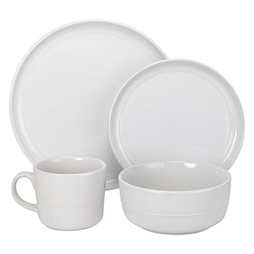 10 Strawberry Street Double Line Dinnerware, 16 Pc Set, Whit