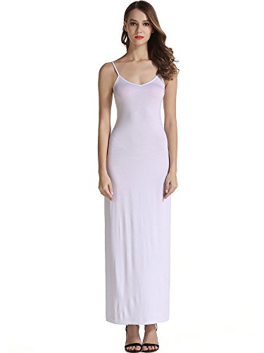 - VETIOR Women's Adjustable Spaghetti Straps Long Cami Slip Dress (X-Large, White)