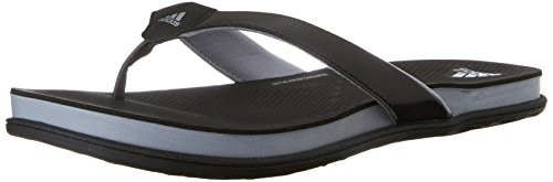 adidas Performance Women's Supercloud Plus Thong W Athletic Sandal,Black/Mid Grey/Silver,10 M US