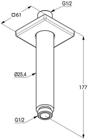 Brazos para ducha 150 mm, 61 mm, 61 mm Kludi 6653505-00 brazo para ducha Lat/ón