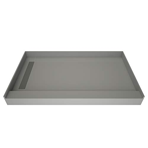 Redi Base WonderFall Trench Shower Pan with Left Drain - Single Curb, Tileable Grate, 2-Inch PVC Drain and Plate Included, 48