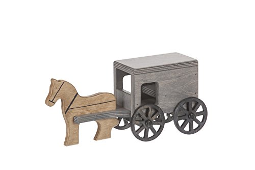 Wooden Horse & Buggy - Black / Gray Finish - Amish Made in USA