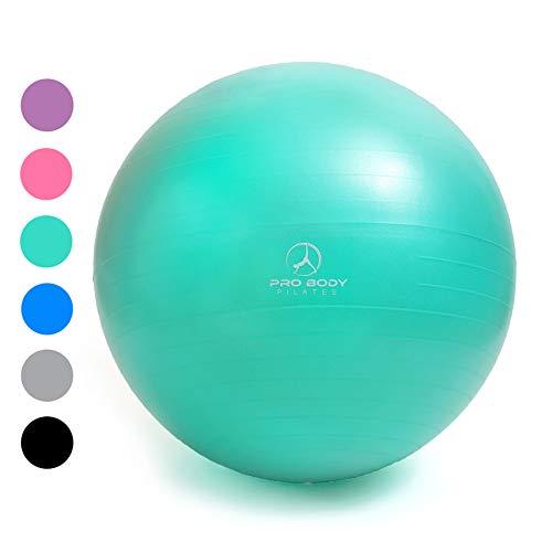 Exercise Ball - Professional Grade Anti-Burst Fitness, Balance Ball Pilates, Yoga, Birthing, Stability Gym Workout Training Physical Therapy (Aqua (No Pump), 65 cm)