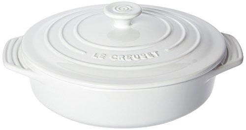 (Le Creuset Stoneware Covered Round Casserole, 9.5-Inch, White)