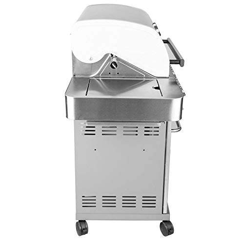 - Monument Grills Stainless Steel 4 Burner Propane Gas Grill w/Side Sear Burners