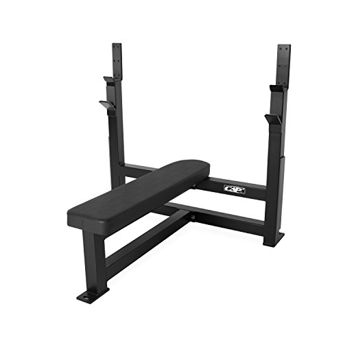 CAP Barbell 300-Pound Black Olympic Grip Set with Olympic Flat Bench by CAP Barbell (Image #1)