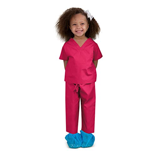 Scoots Little Girls' Scrubs 12-18 Months, Hot Pink
