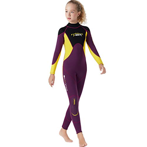 FEDULK Children Youth Wetsuit Scuba One Piece Diving Suit Snorkeling Surfing Sun Protection Sunsuit Swimsuit(Purple, X-Large)