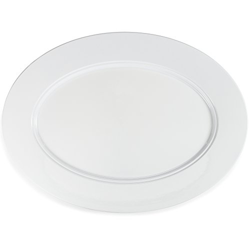 Platter Event Oval - Q Squared Diamond BPA-Free and Shatterproof Melamine Oval Platter, 19-Inches by 14-Inches, White