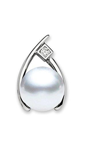 Pendentif Perle de culture de Mer du sud Blanc 10-11mm AAA Qualité 14K Or Blanc avec Diamant