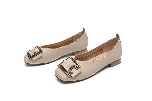 Cabeza Solo Baja Moda Mujeres Puro Albaricoque Hebilla Temperamento Metal Zapatos De Boca Color Cuadrada Mocasines Las Cómoda 8wzxq1E16