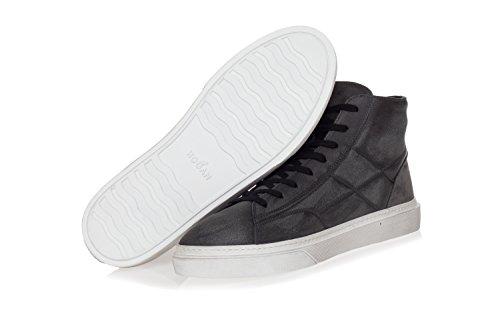 Hogan Scarpe Da Uomo H340 Sneakers Alte In Pelle Grigia