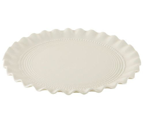 Creamware Collection - Gracie China, Ruffle Collection, 10-Inch Serving Platter, Creamware Fine Porcelain