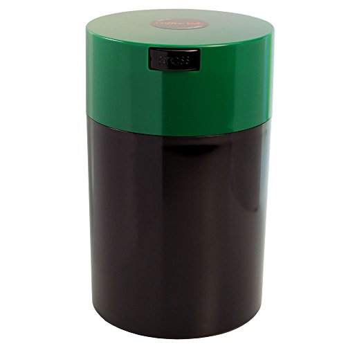 Coffeevac 1 lb - The Ultimate Vacuum Sealed Coffee Container, Green Cap & Black Body by Tightpac America, Inc.