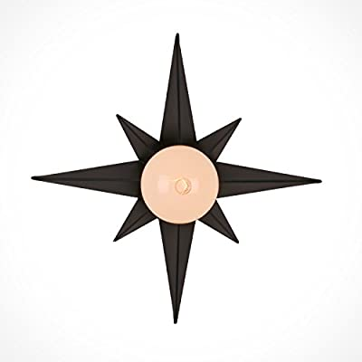 Unitary Brand Rustic Black Metal Octagonal Shape Flush Mount Ceiling Light with 1 E26 Bulb Socket 40W Painted Finish