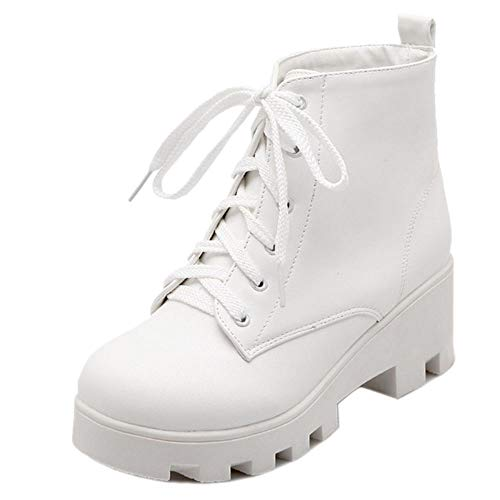 Coolcept Boots Ankle Up Heel White Women Fashion Mid Lace Uxr6qnSU1w