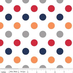 Riley Blake Basics Polka Dot Boy Flannel Fabric SKU F360-02 Red Orange Gray Navy