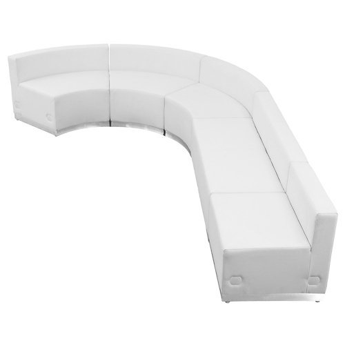 Series Reception Seating - Alon Series JShape Reception Seating in Bonded Leather Five Piece Set White Bonded Leather/Brushed Stainless Steel Base