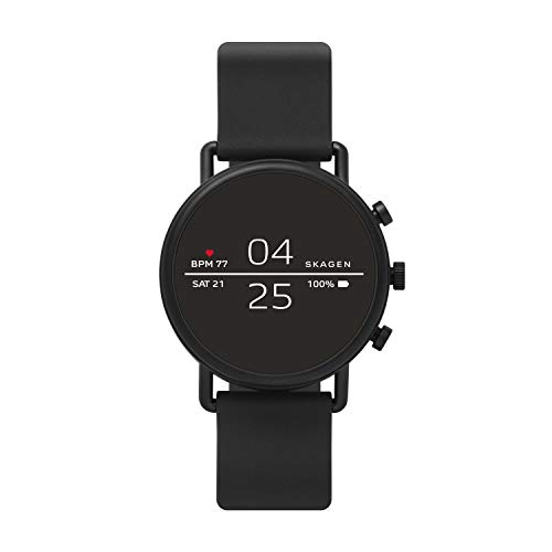 Skagen Connected Falster 2 Stainless Steel and Silicone Touchscreen Smartwatch, Color: Black (Model: SKT5100) (Best Android Wear 2.0 Watches)