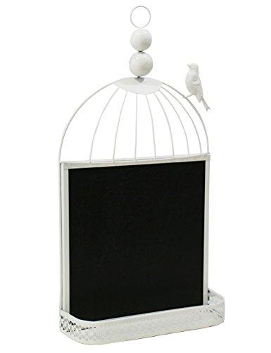 Ufine Metal Chic Bird Cage Design Note Chalkboard Wall Mounted Black Bulletin iron Frame Blackboard Shelf(WHITE),11.8