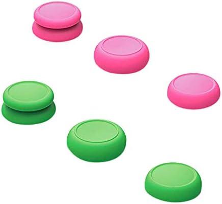 Semoic CQCおよびFPS親指グリップセット、ジョイスティックキャップ、アナログスティックキャップ、 Switch Joy-Conコントローラー3ペア(6個)、ピンク+グリーン