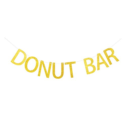 Donut Bar Banner, Gold Gliter Paper Sign Decors for Donut Theme Party/Birthday/Wedding/Engagement/Baby Shower (Donut Themed Party)