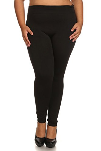 Leggings Mania Plus Size Solid Colored Fleece Lined Leggings Black 2X3X