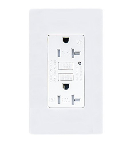 TOPELE 20Amp GFCI Outlet, 125 Volt Weather-Resistant Receptacle, Indicator with LED Light, Nylon Wall Plate and Screws Included, White ()