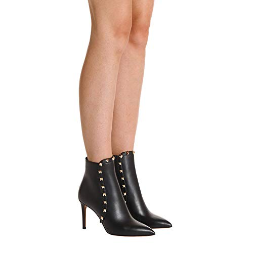 Middle Women's Boots Studs Heels Shoes Ankle Rivets Ankle Black Booties Shoes EKS Toe Pointed BUxdqwIq